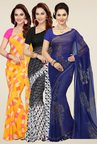 Ishin Yellow, Black & Blue Georgette Sarees (Pack of 3)