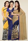 Ishin Yellow, Blue & Beige Printed Sarees (Pack of 3)