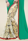 Triveni Beige & Green Printed Faux Georgette Saree