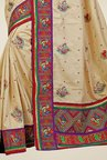 Triveni Beige Embroidered Manipuri Silk Saree