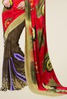 Triveni Brown & Red Printed Faux Georgette Saree