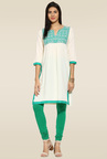 Mytri Off-white & Green 3/4th Sleeves Kurta