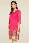 Mytri Pink 3/4th Sleeves Kurta