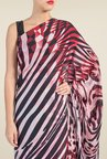 Satya Paul Black & Red Printed Georgette Saree