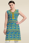 Zola Blue Sleeveless Printed Kurti