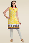 Zola Yellow Printed Cotton Kurti