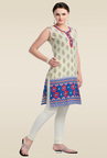 Zola Blue Sleeveless Printed Cotton Kurti