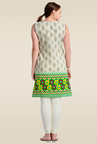 Zola Green Sleeveless Printed Cotton Kurti