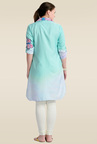 Zola Sea Green Printed Synthetic Kurti