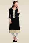 Zola Black 3/4th Sleeves Printed Kurti