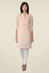 Juniper Peach Embroidered Kurti