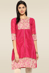 Mytri Pink Regular Fit Kurta