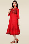 Mytri Red Printed Regular Fit Kurta