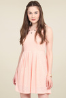 Mocking Bird Peach V-Neck Cotton Dress