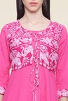 Mytri Pink Printed Cotton Anarkali Kurta