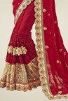 Triveni Burgundy Embroidered Saree