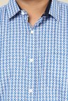 John Pride Blue & White Cotton Shirt