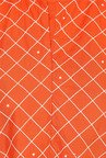 Aujjessa Orange Checks Rayon A Line Draping Kurta