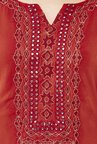 Global Desi Rust & Magenta Embroidered Kurta With Palazzo