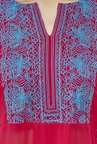 Global Desi Pink & Blue Embroidered Kurta With Palazzo