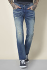 Levi's 511 Blue Heavily Washed Mid Rise Jeans
