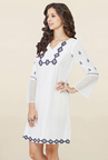 Global Desi White Embroidered Tunic