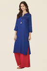 Global Desi Navy Printed Kurta