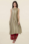 Global Desi Beige & Maroon Printed Kurta With Palazzo