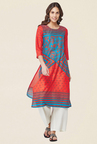 Global Desi Red & Blue Printed Kurta