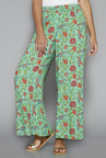 Utsa by Westside Turquoise Floral Print Palazzos
