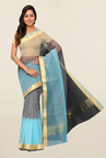 Pavecha's Grey & Blue Cotton Polyblend Saree With Blouse