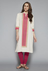 Utsa by Westside Off White Tribal Printed Kurta