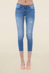 Pepe Jeans Blue Slim Fit Tattered Low Rise Jeans