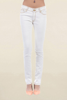 Pepe Jeans White Slim Fit Raw Denim Low Rise Jeans