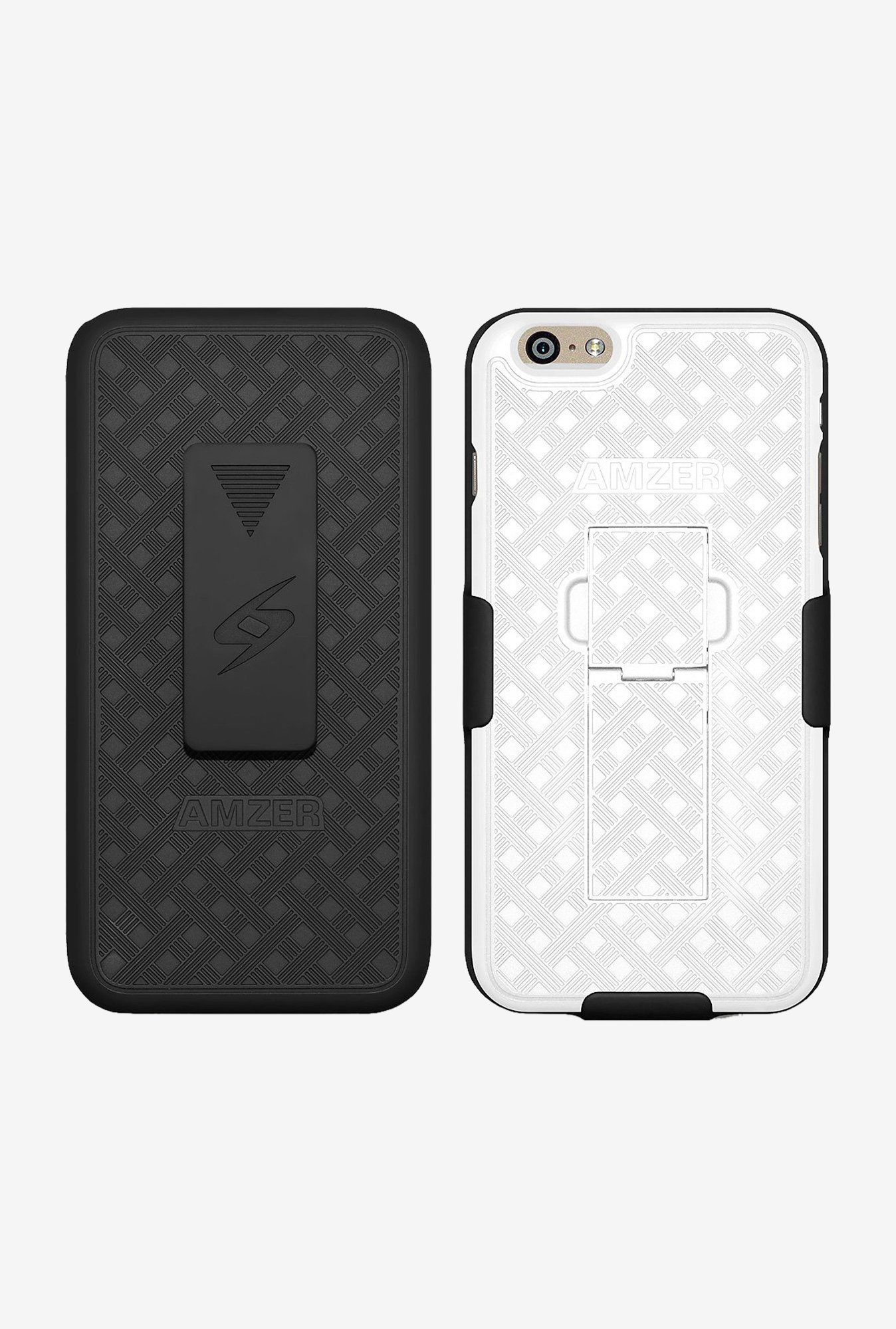 Amzer Shellster Case with Kickstand Black/White for iPhone 6
