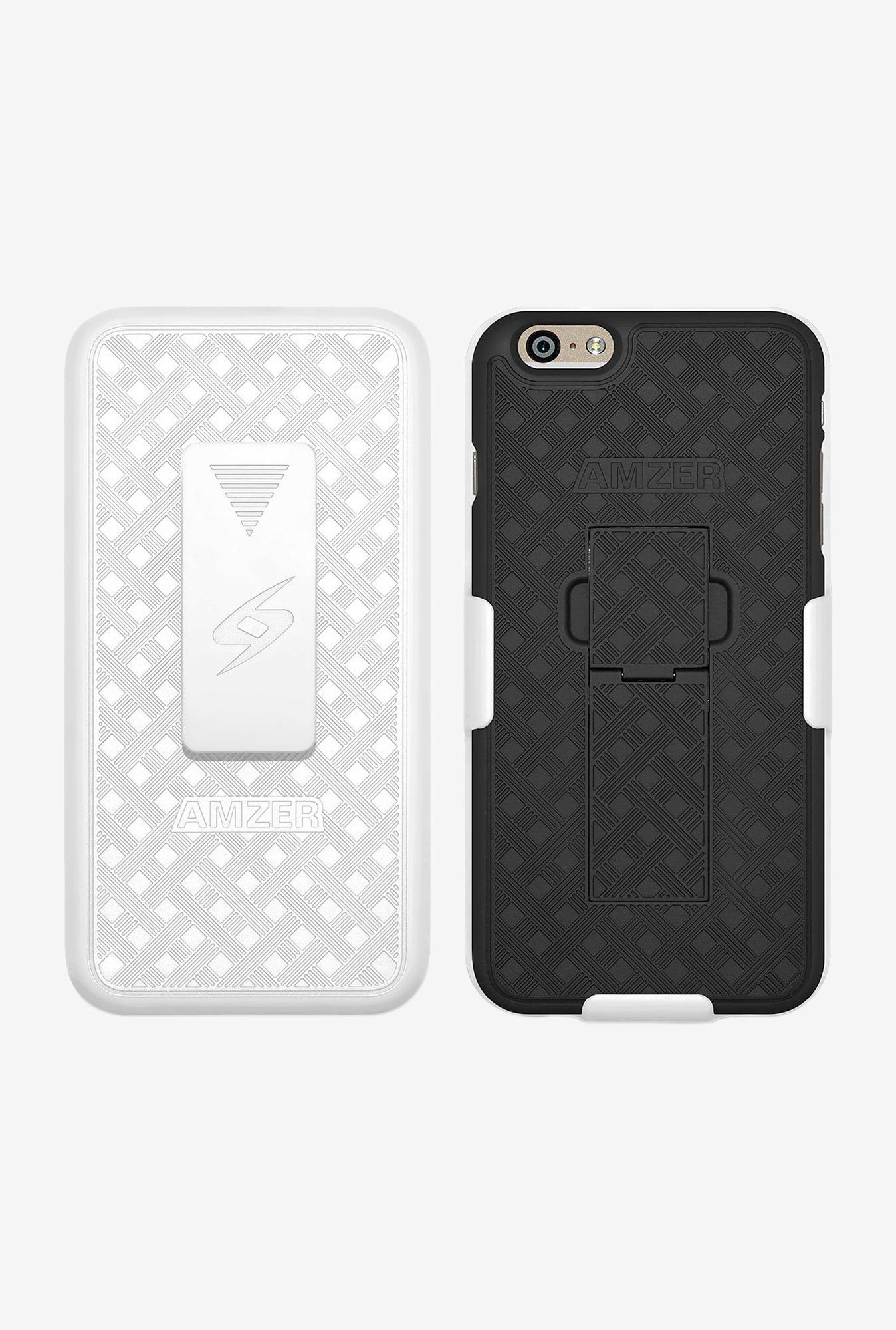 Amzer Shellster Case with Kickstand White/Black for iPhone6+