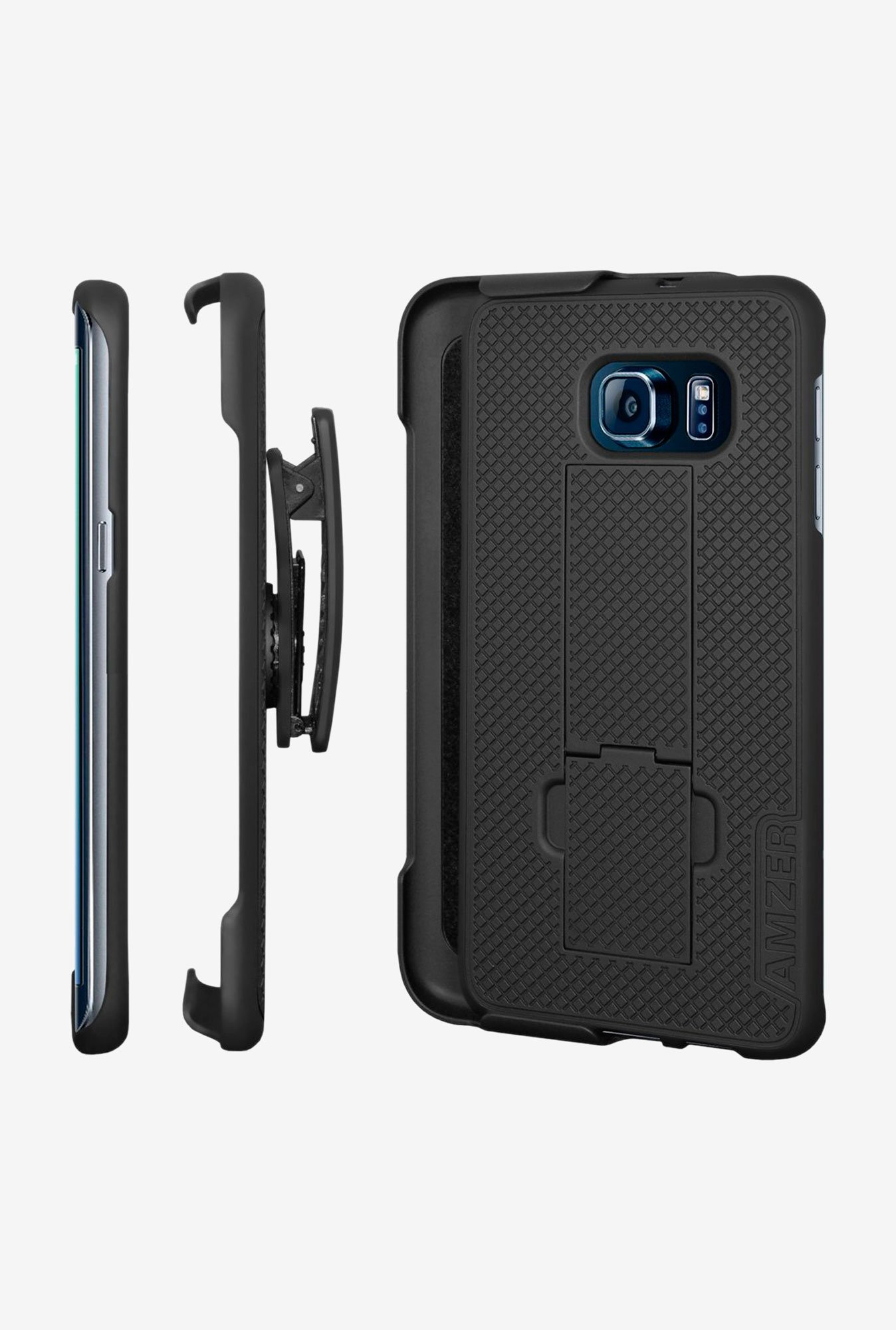 Amzer Shellster Case with Kickstand Black for GalaxyS6 Edge+