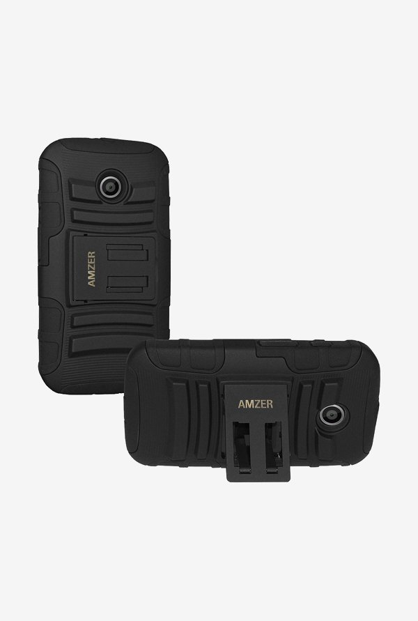 Amzer Hybrid Kickstand Case Black for Moto E