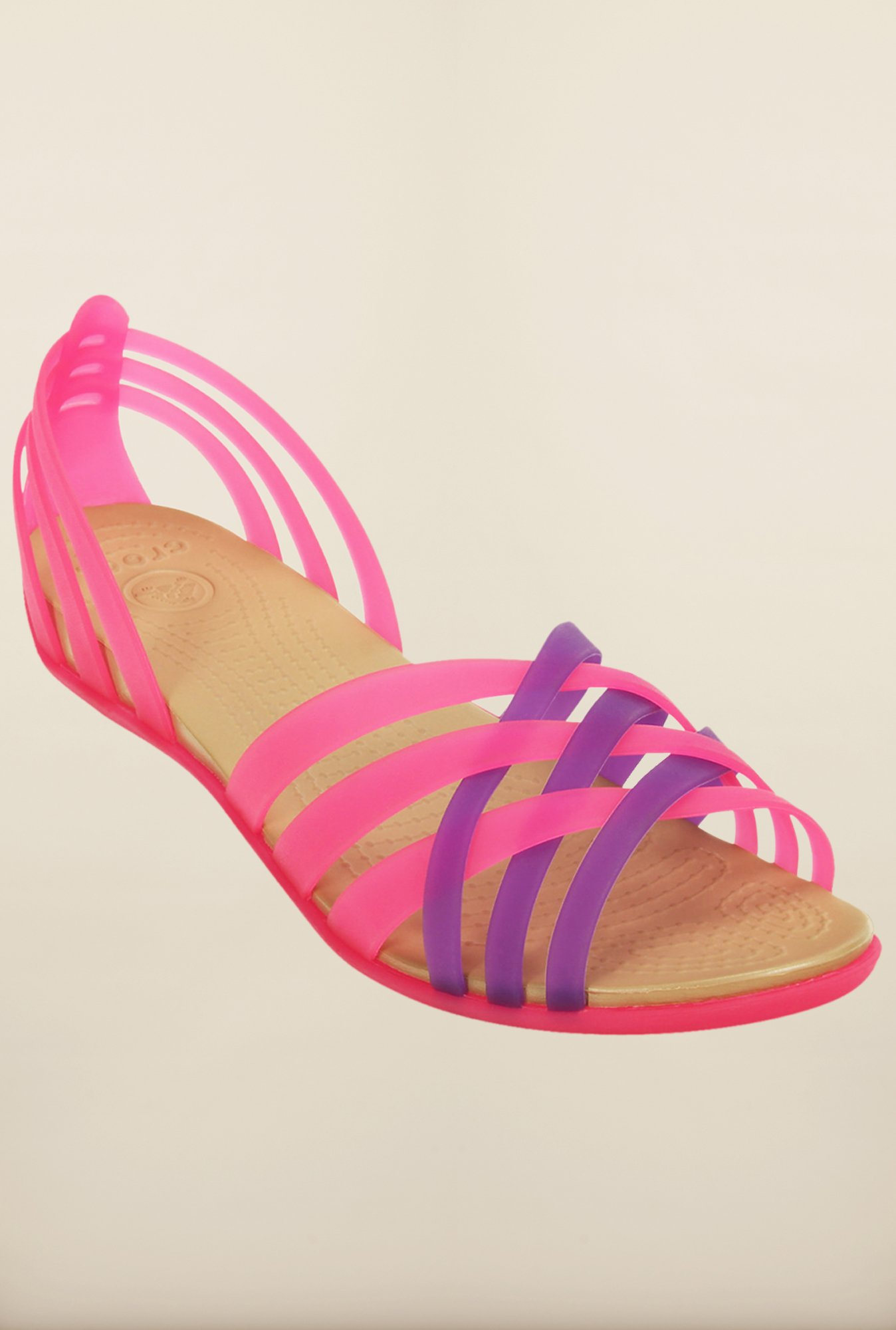 Crocs Huarache Vibrant Pink & Purple Cross Strap Sandals