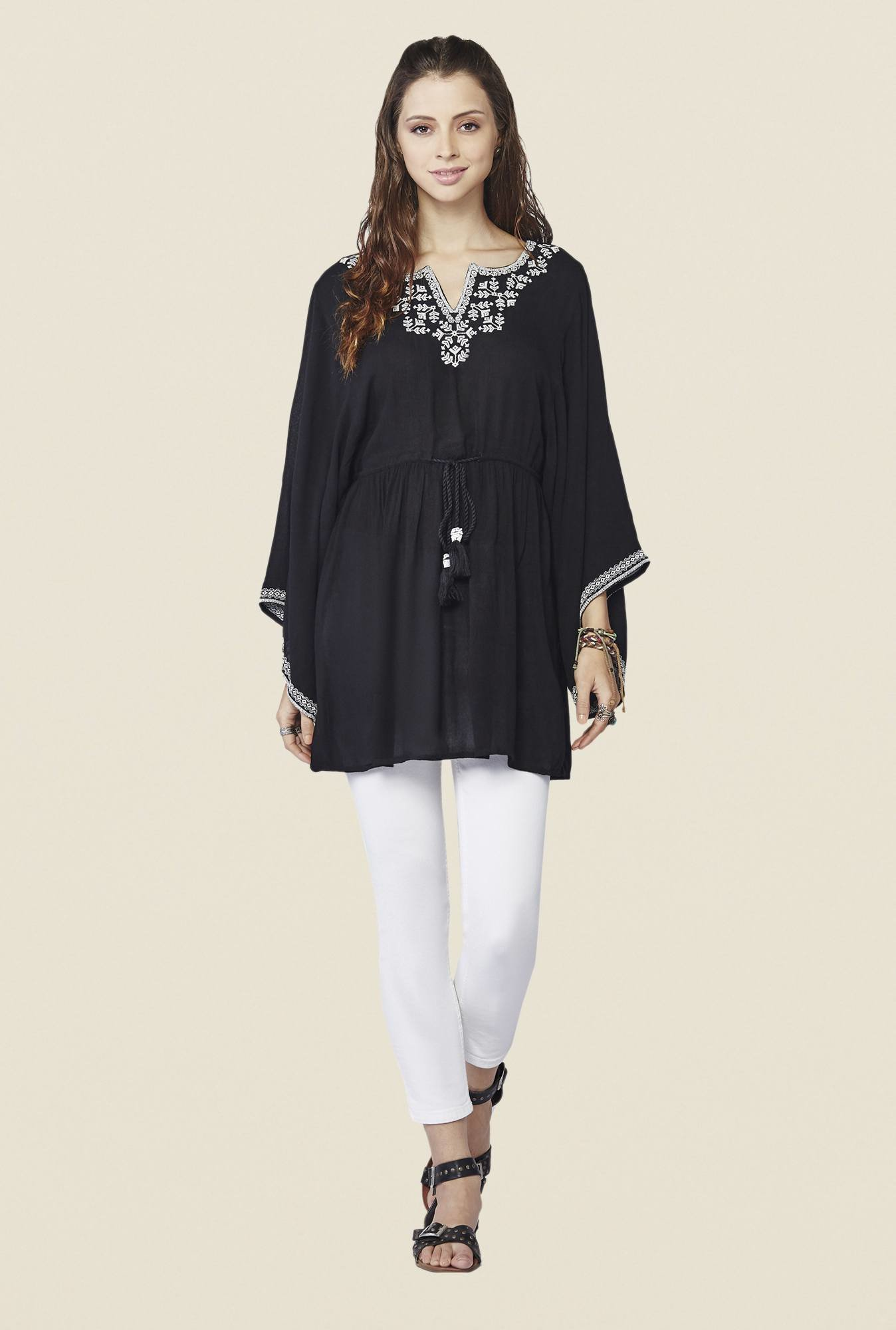 Global Desi Black Embroidered Salem Tunic