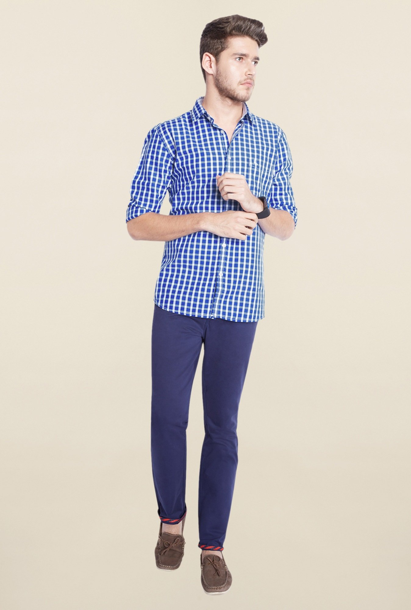 Parx Blue & White Checks Shirt