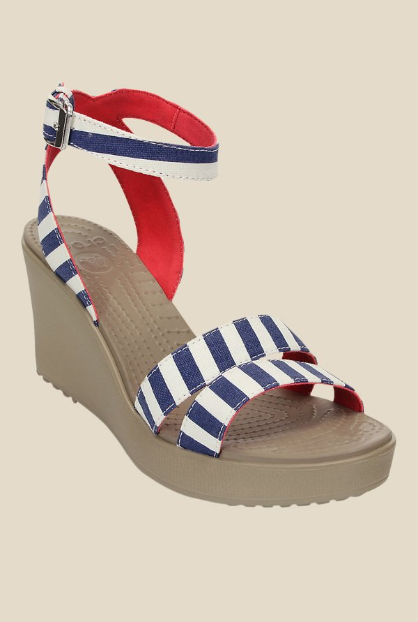 Crocs Leigh Graphic Navy & White Wedges