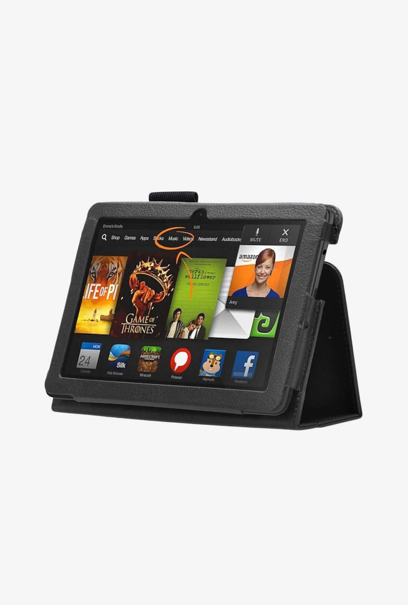 Manvex Leather Case for Amazon Kindle Fire HDX 8.9? (Black)