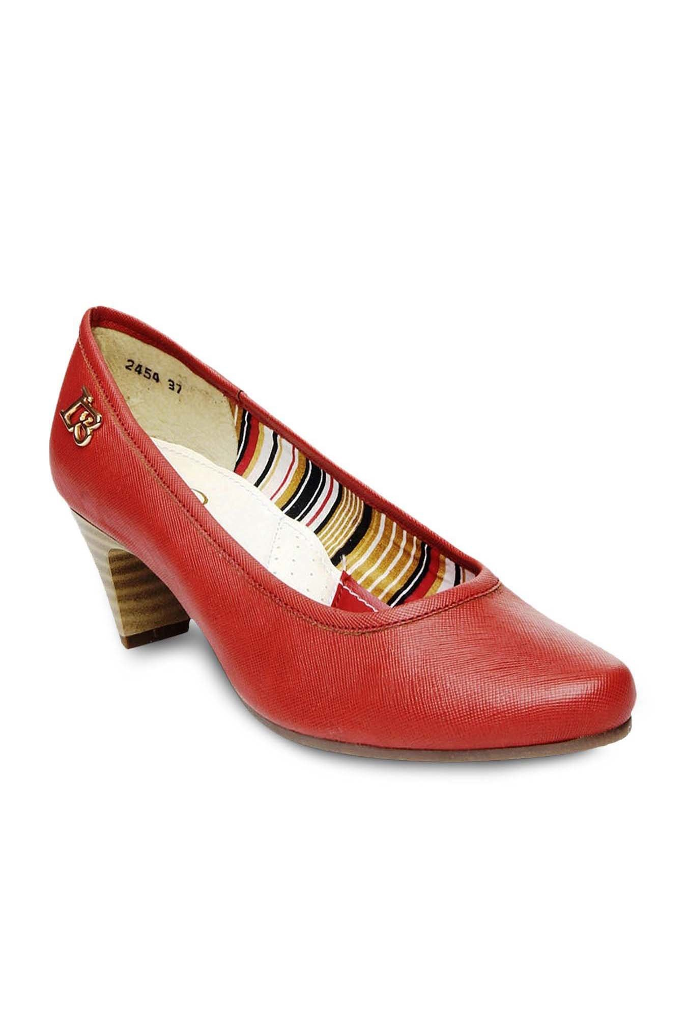 La Briza Red Block Heeled Pumps
