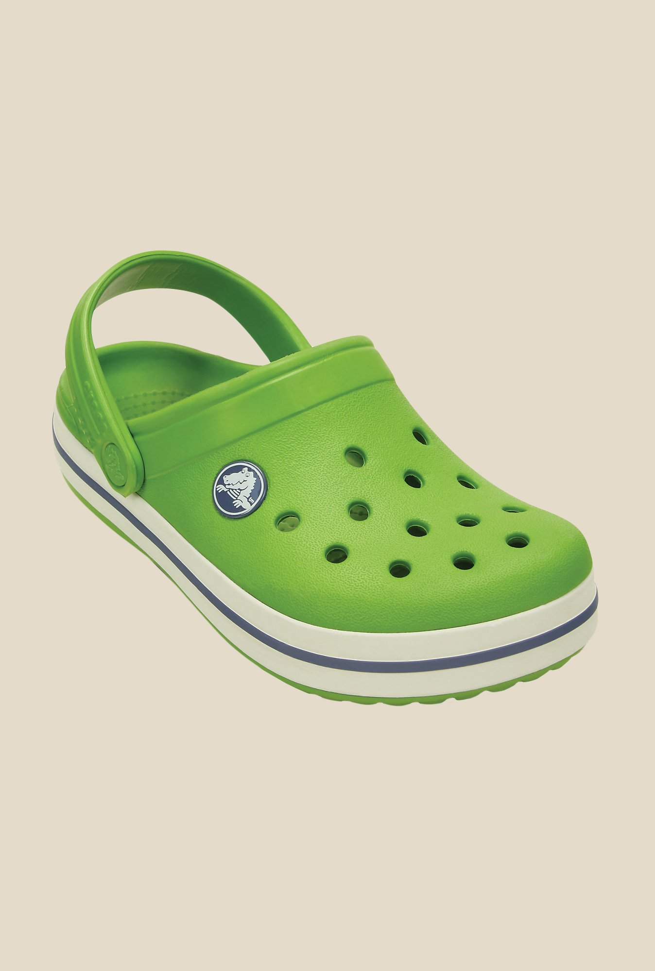Crocs Crocband Parrot Green & White Clogs