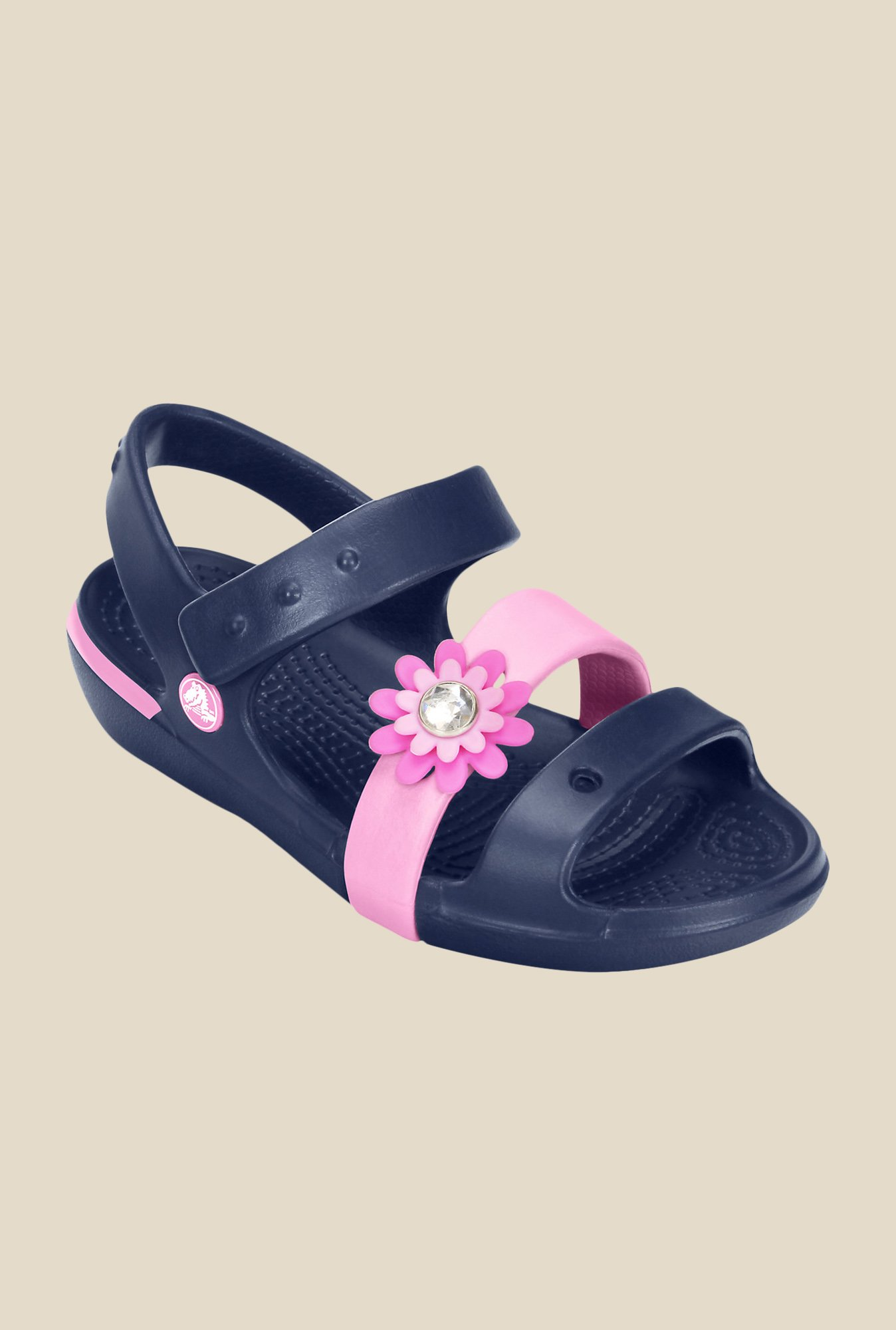 Crocs Keeley Petal Charm Navy & Carnation Floater Sandals