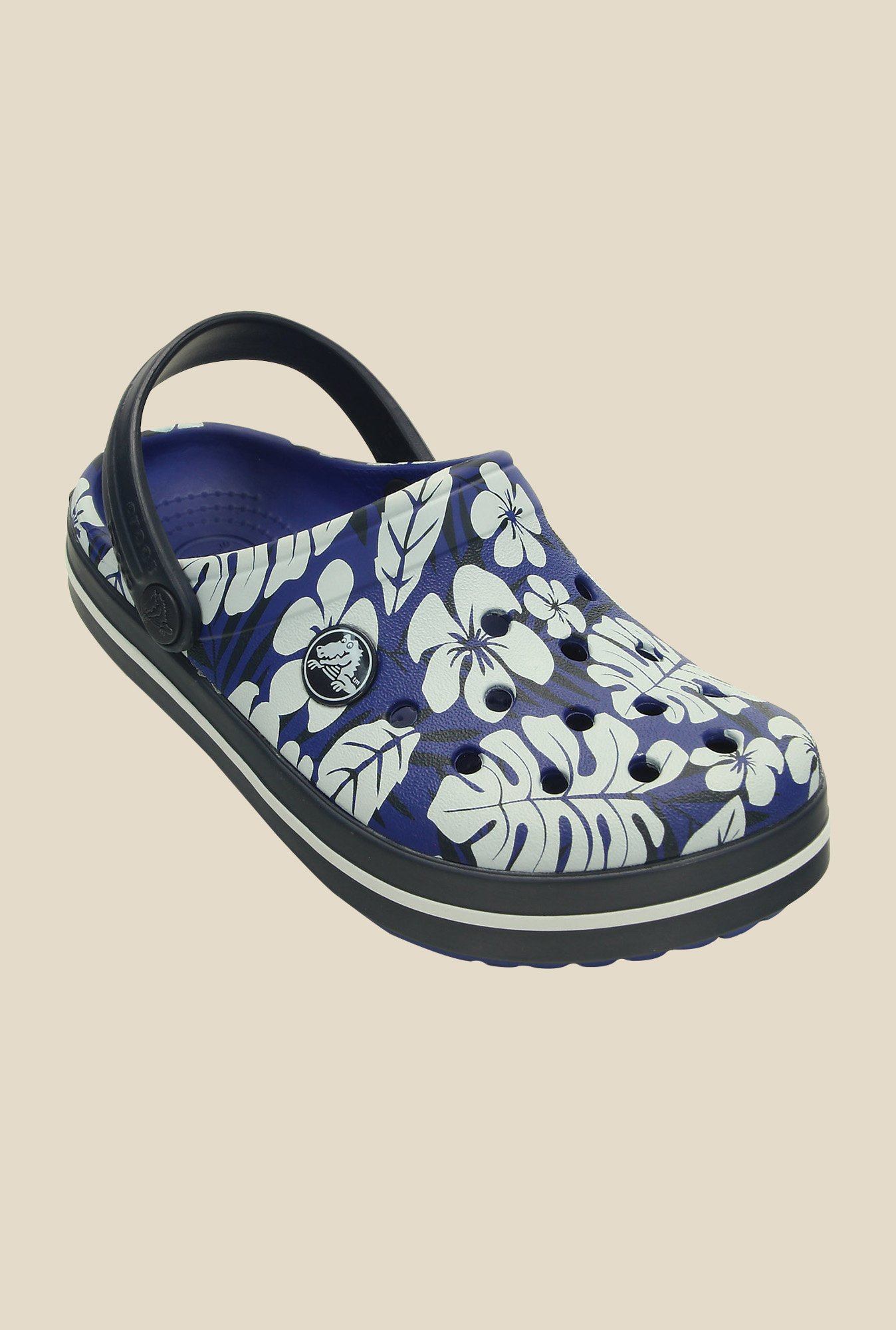 Crocs Crocband Tropical Print Cerulean Blue & Navy Clogs
