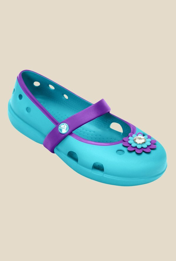Crocs Keeley Petal Charm Surf & Neon Purple Mary Jane Shoes