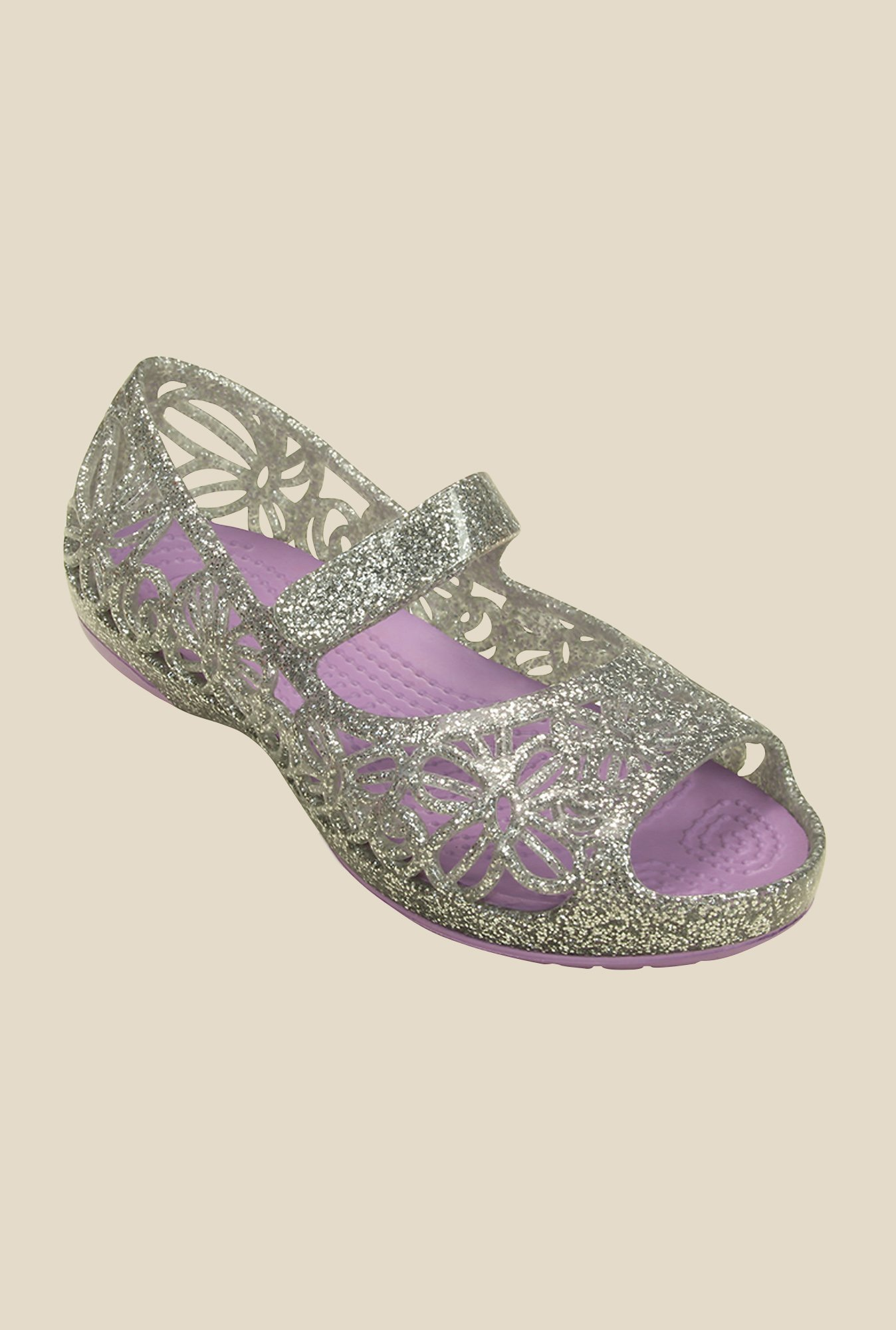 Crocs Isabella Glitter PS Silver & Iris Mary Jane Shoes
