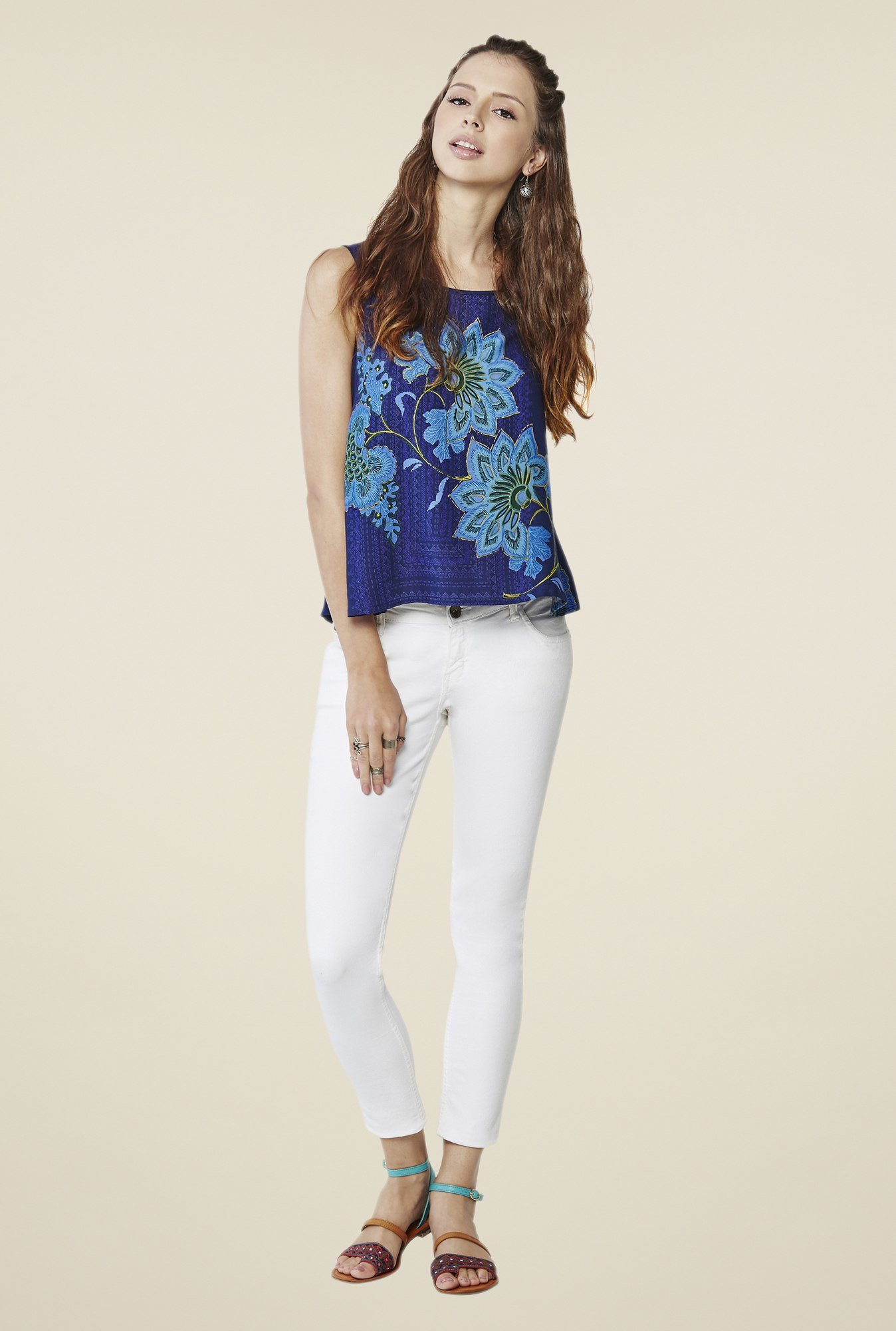 Global Desi Blue Floral Print Top